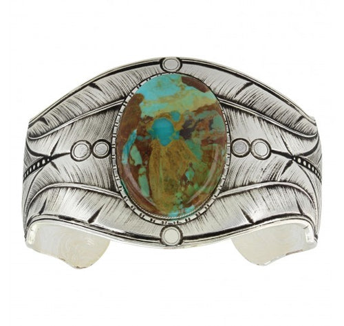 Antiqued Beaded Fletching Turquoise Cuff Bracelet