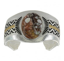 Load image into Gallery viewer, Two Tone Trails and Stars Cuff Bracelet
