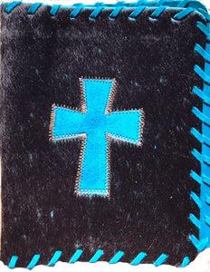 Genuine Cowhide Bible Cover with Cross - Black & Turquoise