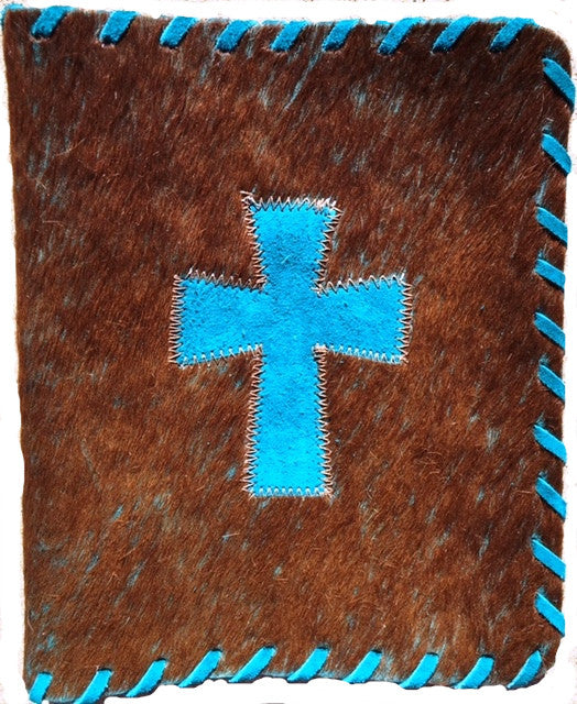 Genuine Cowhide Bible Cover with Cross - Brown & Turquoise