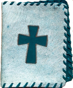 Genuine Cowhide Bible Cover with Cross - White & Turquoise