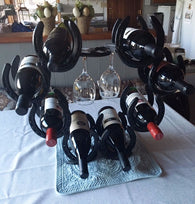 (BLA81) Genuine Horseshoe Wine and Wine Glasses Holder