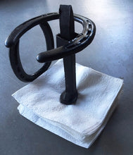Load image into Gallery viewer, (BLA88) Genuine Horseshoe Napkin Holder with Railroad Spike