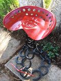 (BLABS) Western Genuine Horseshoe Tractor Seat Stool - Made is USA