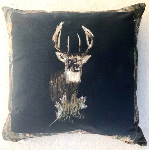 Camo & Black Deer Square Accent Pillow