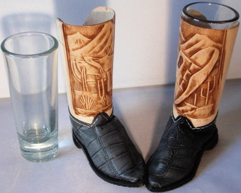 (BSBSGGC) Cowboy Boot Shot Glasses - Gray Croc (Pair)