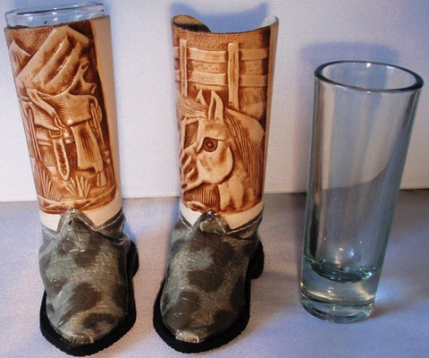 (BSBSGGS) Cowboy Boot Shot Glasses - Gray Snake (Pair)