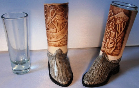 (BSBSGSE) Cowboy Boot Shot Glasses - Silver Eel (Pair)
