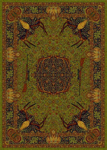 "(BSBSTKINCIEGR) ""Trophy Room Green"" Western Carpet Grade Area Rug"