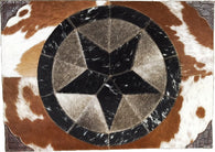 Bshpm Western Cowhide Star Place Mat With Tooled Leather Corner
