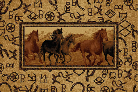 Brands Horses Western Area Rug 2 Sizes Available Wild West Living