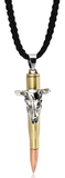 Braided Rope Necklace with Bullet Pendant Necklace of Cattle Skull