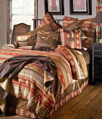"(CARJB1107) ""Flying Horse"" 5-Piece Western Bedding Ensemble King"