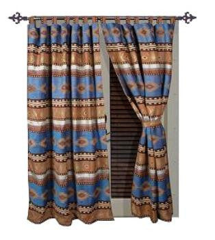 "(CARJB1113) ""Sierra"" Western Drapes with Tiebacks"
