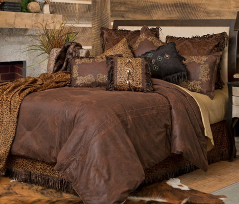"(CARJB1716) ""Gold Rush"" Western 5-Piece Bedding Ensemble Queen"