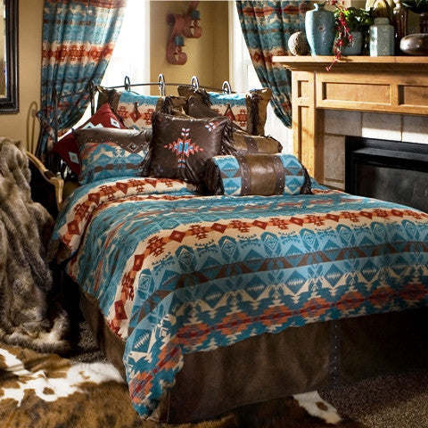 "(CARJB2076) ""Turquoise Chamarro"" 5-Piece Western Bedding Ensemble Queen"