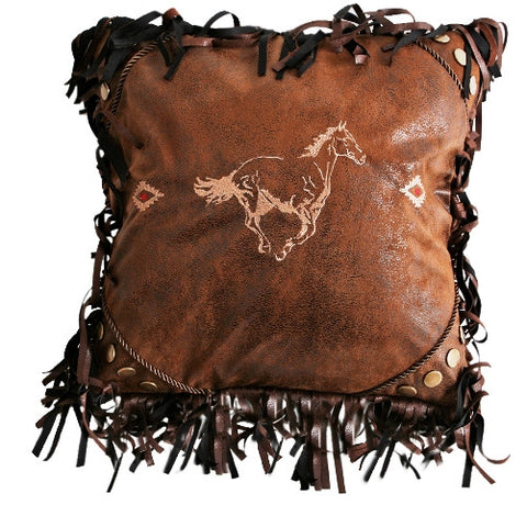 "(CARJB4027) Western Embroidered Horse Decorative Pillow - 18"" x 18"""