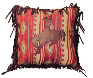 "(CARJB4040) ""Flying Horse"" Buckin' Bronc Accent Pillow - 18"" x 18"""