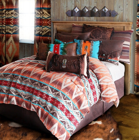 "(CARJB6101) ""Mojave Sunset Western 5-Piece Bedding Set - Queen"