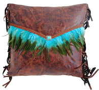 "(CARJB6140) ""Mojave Sunset"" Turquoise Feather Envelope Accent Pillow"