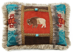 "(CARJB6143) ""Canyon View"" Western Feather Buffalo Accent Pillow"