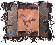 (CARJB6148) Western Embroidered Horse Button Pillow