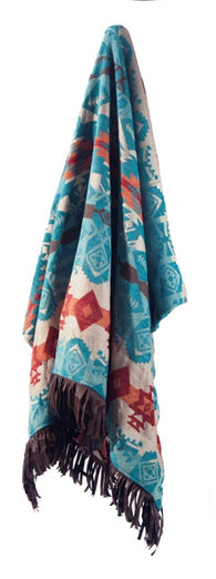 "(CARJB6170) ""Turquoise Chamarro"" Western Throw"
