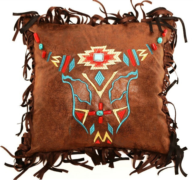 (CARJB6552) Western Embroidered Steer Head Accent Pillow