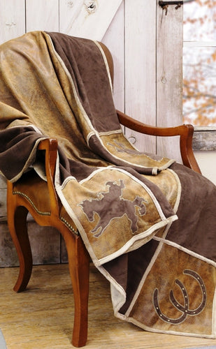 (CARJW600) Western Grid Microsuede Throw Blanket
