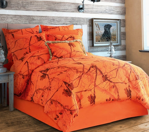 "(CARRT607) ""Camo Blaze"" Western 4-Piece Bedding Set - Queen"