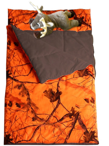 "(CARRT754D) ""Camo Blaze"" Western Slumberbag with Deer Pillow"