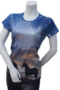 "(CB9112) ""Grazing Horses"" Western Sequined T-Shirt"