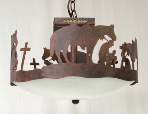(CC-CL315PC-C121) Praying Cowboy Western Ceiling Light