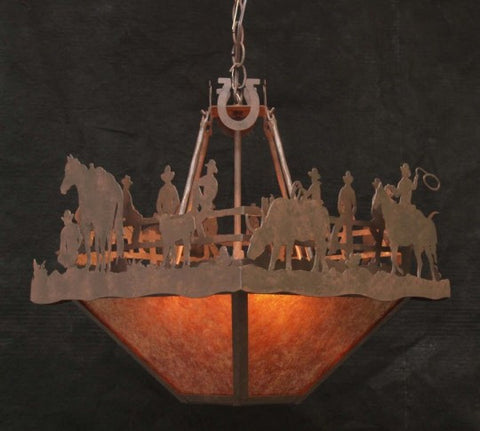 (CC-CL838-C128) Western Fence Sitters Ceiling Light Chandelier with Amber Mica