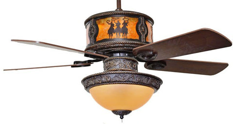 "(CC-KVSHR-BRZ-3RDRS-LK420) ""3 Riders"" Western Ceiling Fan with Light Kit"