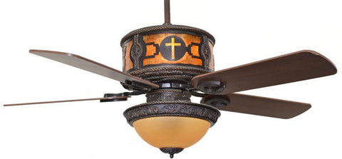 "(CC-KVSHR-BRZ-CROSS-LK420) "" Cross"" Western Ceiling Fan with Light Kit"