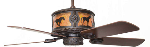 "(CC-KVSHR-BRZ-HS) ""Horses"" Western Lighted Ceiling Fan"