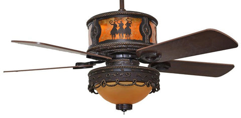 "(CC-KVSHR-BRZ-LK510-3R) ""3 Riders"" Western Ceiling Fan with Light Kit"