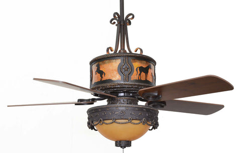 "(CC-KVSHR-BRZ-LK510-HS) ""Horses"" Western Ceiling Fan with Light Kit"