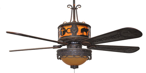 "(CC-KVSHR-BRZ-LK510-PCC) ""Praying Cowboy & Cross"" Western Ceiling Fan with Light Kit"