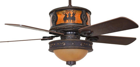 "(CC-KVSHR-BRZ-LK515-3RDS) ""3 Riders"" Western Ceiling Fan with Star Light Kit"