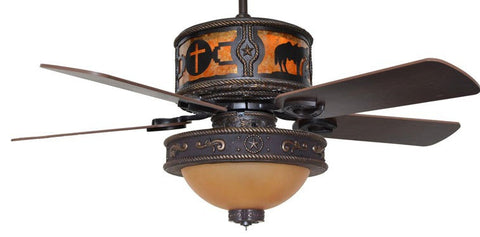 "(CC-KVSHR-BRZ-LK515-PPC) ""Praying Cowboy & Cross"" Western Ceiling Fan with Star Light Kit"