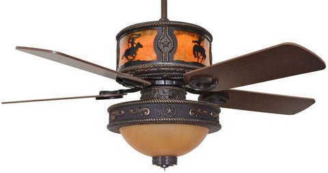"(CC-KVSHR-BRZ-LK515-RODEO) ""Rodeo"" Western Ceiling Fan with Star Light Kit"