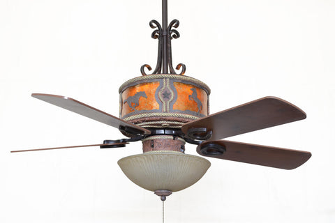 "(CC-KVSHR-LTH-HS-LK310) ""Horses"" Western Leather Colored Ceiling Fan with Light Kit"
