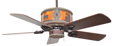 "(CC-KVSHR-LTH-RU) ""Round Up"" Western Leather Colored Lighted Ceiling Fan"