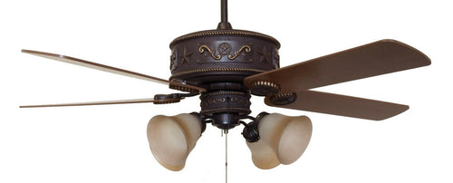 (CC-KVWST-LK2FLG10) Western Star Lighted Ceiling Fan with Light Kit