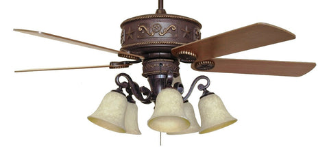 Western Star Lighted Ceiling Fan With Light Kit Free Shipping Wild West Living
