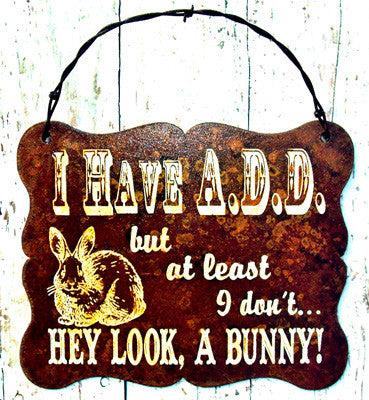 "(CCD-ADD) ""I Have A.D.D.  Western Humorous Metal Sign"