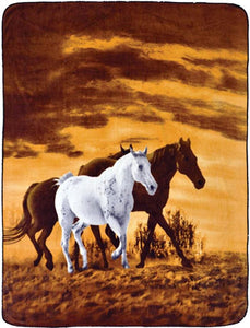 Trail Crest Soft Touch Reversible Horse Print Blanket