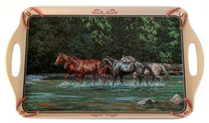 "(CDS-ST1052) ""Horses in the Stream"" Western Serving Tray"